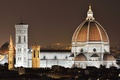 Картинка небо, ночь, огни, дома, Италия, Флоренция, Дуомо