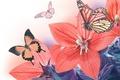 Картинка листья, бабочки, лепестки, колокольчик, цветение