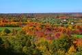 Картинка осень, небо, деревья, поля, дома
