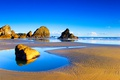 Картинка море, небо, облака, камни, скалы, отлив