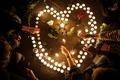 Картинка сердце, Франция, свечи, Марсель, Старый порт, в память жертв терактов в Париже, 14-е ноября 2015 ...