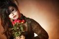 Картинка девушка, розы, вуаль