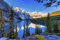 Картинка снег, деревья, пейзаж, горы, озеро, красота