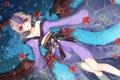 Картинка вода, девушка, цветы, розы, крылья, аниме, арт