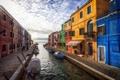 Картинка облака, краски, дома, лодки, утро, Венеция, канал