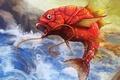 Картинка усы, брызги, водопад, рыба, арт, красная, pokemon
