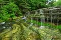 Картинка лес, деревья, скала, река, водопад, каскад