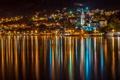 Картинка город, река, Montenegro, ночь, Kotor, огни