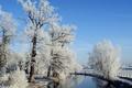 Картинка зима, небо, снег, природа, река, фото, забор