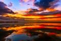 Картинка небо, вода, облака, природа, отражение, краски, зарево