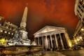 Картинка небо, люди, вечер, площадь, Рим, Италия, колонны