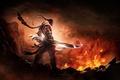 Картинка горы, оружие, огонь, драконы, меч, воин, dungeon hunter 4