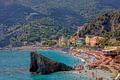 Картинка море, лес, пляж, горы, город, скала, отдых