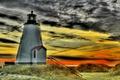 Картинка зарево, hdr, маяк, берег, облака, небо