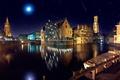 Картинка ночь, мост, река, замок, луна, здание, освещение
