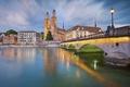 Картинка мост, река, дома, Швейцария, Цюрих