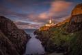 Картинка море, небо, закат, скалы, маяк, бухта