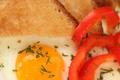 Картинка зелень, завтрак, хлеб, перец, яичница, тост