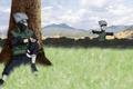 Картинка трава, горы, дерево, naruto shippuden, kakashi hatake, чучел