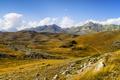 Картинка камни, горы, трава, небо, облака