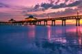 Картинка море, небо, облака, закат, огни, Флорида, пирс