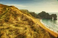 Картинка волны, пляж, небо, трава, солнце, облака, горы