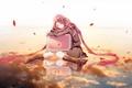 Картинка взгляд, листья, девушка, облака, улыбка, отражение, шарф