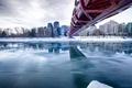 Картинка зима, мост, река, дома, Канада, Калгари