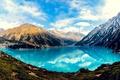 Картинка лес, небо, горы, озеро, отражение, красиво, Казахстан
