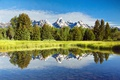 Картинка небо, облака, деревья, горы, озеро
