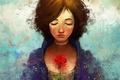 Картинка цветок, девушка, роза, слезы, арт, Bioshock, art