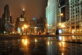 Картинка ночь, Марлин Монро, огни, город, Иллиноис, небоскребы, Чикаго