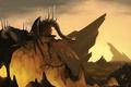 Картинка скалы, дракон, монстр, арт