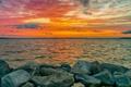 Картинка море, небо, закат, камни, берег
