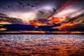 Картинка небо, облака, пейзаж, закат, красиво