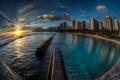 Картинка ночь, город, залив