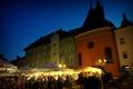 Картинка небо, Польша, вечер, огни, малый рынок, площадь, дома