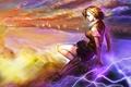 Картинка взгляд, девушка, закат, город, магия, злость, misaka mikoto