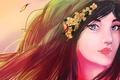 Картинка волосы, лицо, ветер, девушка, взгляд, цветки
