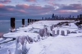 Картинка зима, снег, city, небоскребы, USA, америка, чикаго