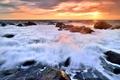 Картинка море, закат, камни, прибой