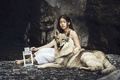 Картинка фон, собака, девочка