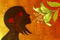 Картинка цветок, профиль, текстура, силуэт, девушка, лепестки, вектор