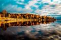 Картинка осень, лес, небо, облака, озеро, дом