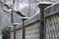 Картинка снег, город, забор