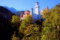 Картинка горы, Германия, деревья, замок, Нойшванштайн, башня, Бавария