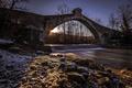 Картинка мост, река, утро