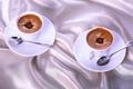 Картинка чашки, кофе, ложки, ткань