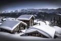 Картинка снег, горы, дома