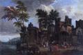 Картинка деревья, пейзаж, люди, дома, картина, Порт, Адриан Франс Будевинс